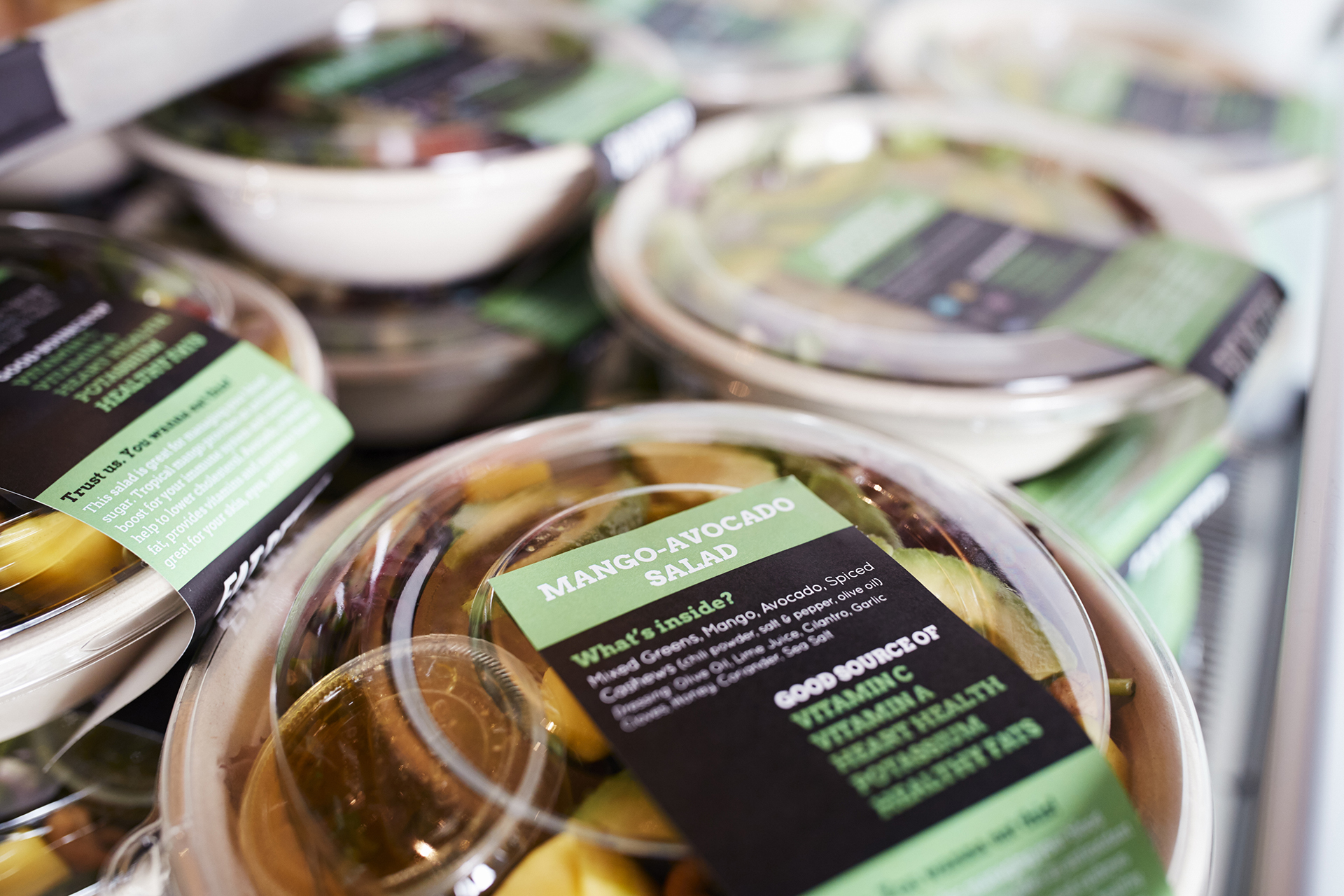 Healthy Takeaway Salads On Display In Coffee Shop